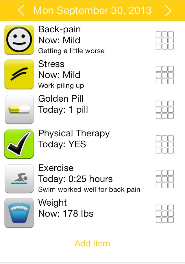 Health Tracker App Track View